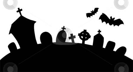 Cemetery silhouette stock vector clipart, Cemetery silhouette on white background - vector illustration. by Klara Viskova