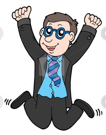 Happy jumping businessman 2 stock vector clipart, Happy jumping businessman 2 - vector illustration. by Klara Viskova
