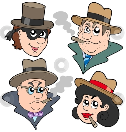 Gangester faces collection stock vector clipart, Gangster faces collection - vector illustration. by Klara Viskova