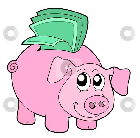Pig money box stock vector clipart, Pig money box - vector illustration. by Klara Viskova