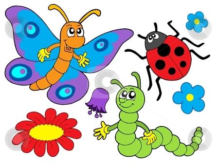 Bug and flower illustration stock vector clipart, Bug and flower collection - vector illustration. by Klara Viskova
