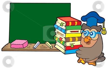 Owl teacher with books and blackboard stock vector clipart, Owl teacher with books and blackboard - vector illustration. by Klara Viskova