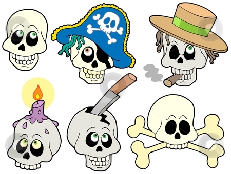 Various skulls collection stock vector clipart, Various skulls collection - vector illustration. by Klara Viskova