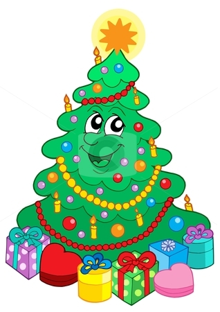 Smiling cute Christmas tree with gift stock vector clipart, Smiling cute Christmas tree with gift - vector illustration. by Klara Viskova