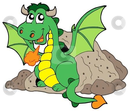 Cute dragon in cave stock vector clipart, Cute dragon in cave - vector illustration. by Klara Viskova