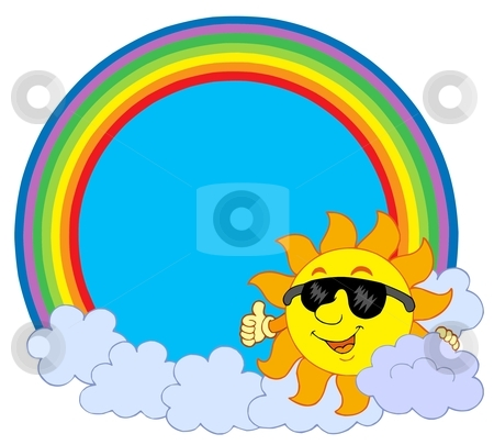 Sun with cloud in rainbow circle stock vector clipart, Sun with cloud in rainbow circle - vector illustration. by Klara Viskova