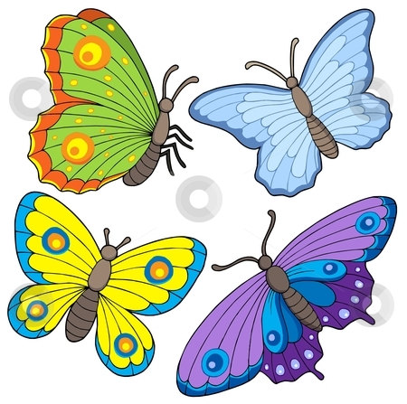 Butterfly collection 2 stock vector clipart, Butterfly collection 2 - colorful vector illustration. by Klara Viskova