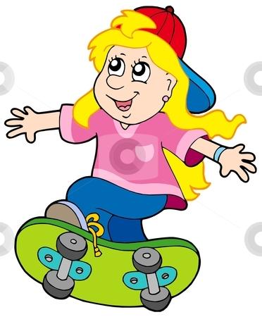 Skateboarding girl stock vector clipart, Skateboarding girl on white background - vector illustration. by Klara Viskova