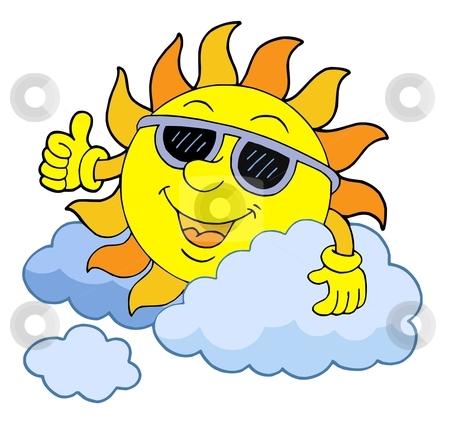 Sun with sunglasses vector illustration stock vector clipart, Sun with sunglasses - vector illustration. by Klara Viskova