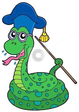 Snake teacher stock vector clipart, Snake teacher - vector illustration. by Klara Viskova
