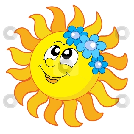 Smiling Sun with flowers vector illustration stock vector clipart, Smiling Sun with flowers - vector illustration. by Klara Viskova