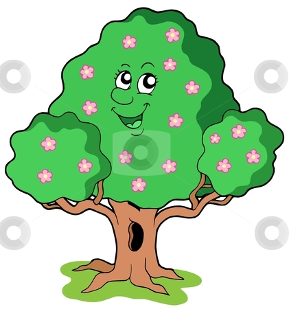 Spring tree in bloom stock vector clipart, Spring tree in bloom - vector illustration. by Klara Viskova