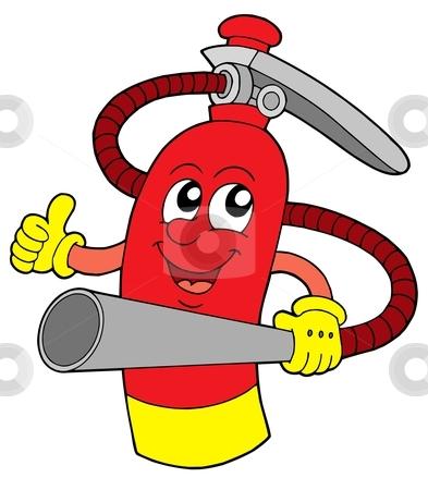 Extinguisher vector illustration stock vector clipart, Red extinguisher with face - vector illustration. by Klara Viskova