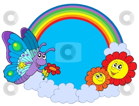 Rainbow circle with butterfly and flowers stock vector clipart, Rainbow circle with butterfly and flowers - vector illustration. by Klara Viskova