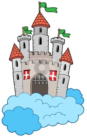 Medieval castle on clouds stock vector clipart, Medieval castle on clouds - vector illustration. by Klara Viskova
