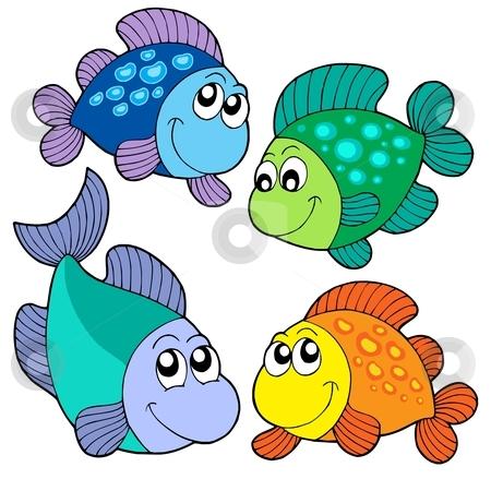 Cute fishes set stock vector clipart, Cute fishes set - vector illustration. by Klara Viskova