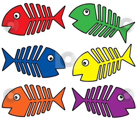 Various colors fishbones stock vector clipart, Various colors fishbones - vector illustration. by Klara Viskova
