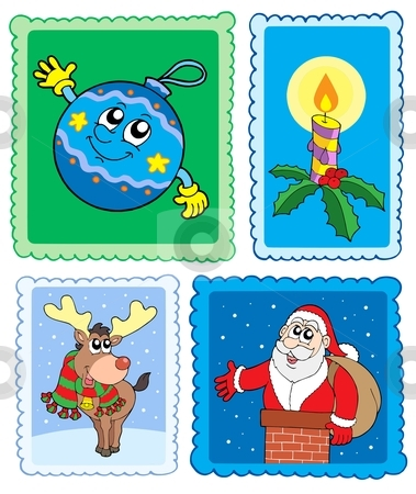 Christmas post stamps collection stock vector clipart, Christmas post stamps collection - vector illustration. by Klara Viskova