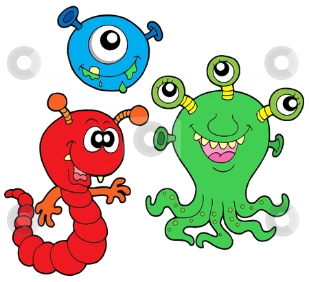 Monster collection 2 stock vector clipart, Monster collection 2 on white background - vector illustration. by Klara Viskova