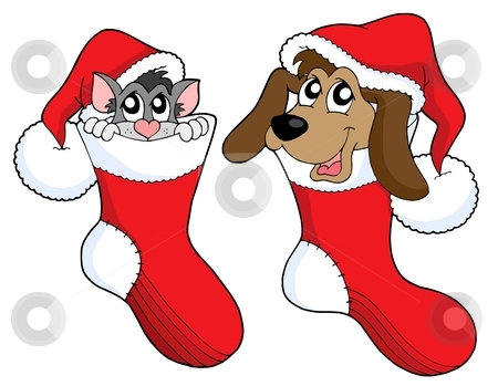 Cute cat and dog in Christmas socks vector illustration stock vector clipart, Cute cat and dog in Christmas socks - vector illustration. by Klara Viskova