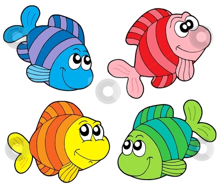 Striped fishes collection stock vector clipart, Striped fishes collection - vector illustration. by Klara Viskova