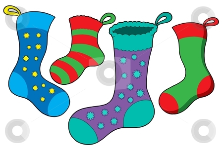 Various Christmas socks stock vector clipart, Various Christmas socks - vector illustration. by Klara Viskova