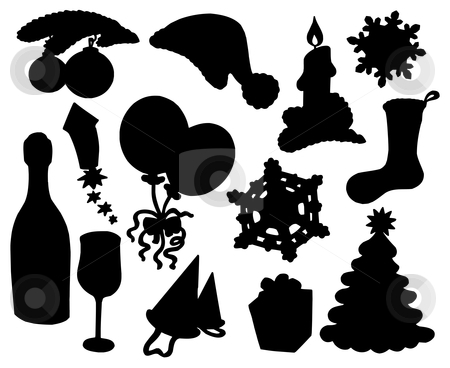 Christmas silhouette collection 03 stock vector clipart, Christmas silhouette collection 03 - vector illustration. by Klara Viskova