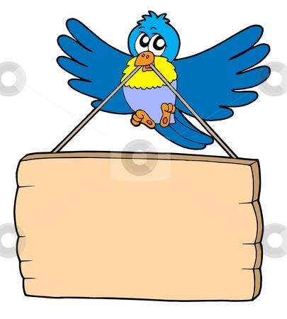 Bird with sign stock vector clipart, Bird with sign - vector illustration. by Klara Viskova