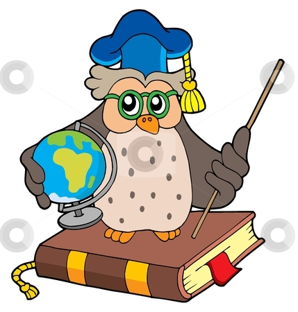 Owl teacher with globe stock vector clipart, Owl teacher with globe - vector illustration. by Klara Viskova