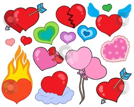 Valentine hearts collection 1 stock vector clipart, Valentine hearts collection 1 - vector illustration. by Klara Viskova
