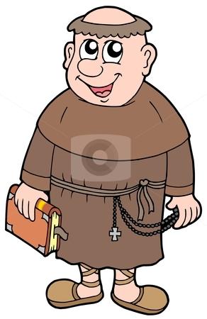 Cartoon monk stock vector clipart, Cartoon monk on white background - vector illustration. by Klara Viskova