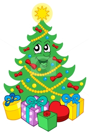 Smiling Christmas tree with gifts stock vector clipart, Smiling Christmas tree with gifts - vector illustration. by Klara Viskova
