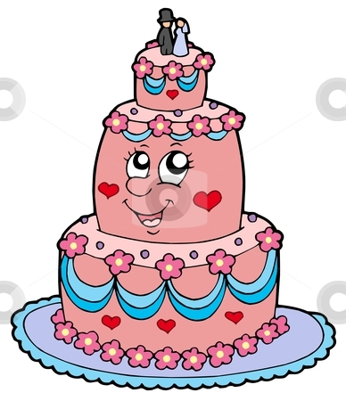 Cartoon wedding cake stock vector clipart, Cartoon wedding cake - vector illustration. by Klara Viskova