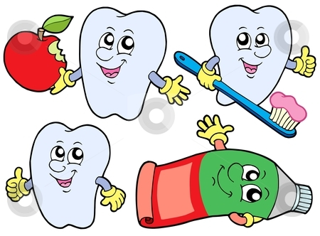 Tooth collection 2 stock vector clipart, Tooth collection 2 on white background - vector illustration. by Klara Viskova