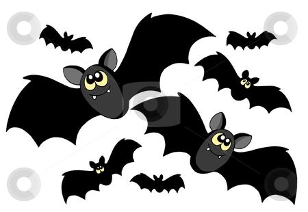 Bats silhouettes stock vector clipart, Bats silhouettes on white background - vector illustration. by Klara Viskova