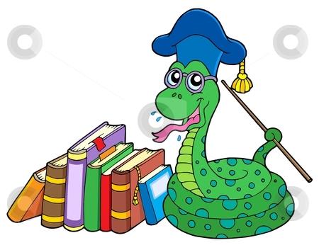 Snake teacher with books stock vector clipart, Snake teacher with books - vector illustration. by Klara Viskova