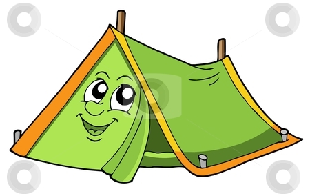 Cute tent stock vector clipart, Cute tent with smiling face - vector illustration. by Klara Viskova