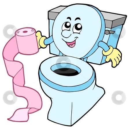 Cartoon Toilet Stock Vector Clipart Cartoon Toilet On White