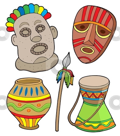 African tribal collection stock vector clipart, African tribal collection - vector illustration. by Klara Viskova