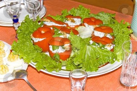 Tomatoes stock photo, Filled tomatoes on the table by Minka Ruskova-Stefanova