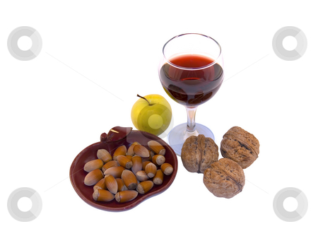 Glass of wine and fruits stock photo, Glass of wine and fruits isolated on white background by Minka Ruskova-Stefanova