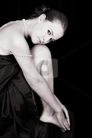 Female Model stock photo, Beautiful female wrapped in fabric, wearing pearls by Vanessa Van Rensburg