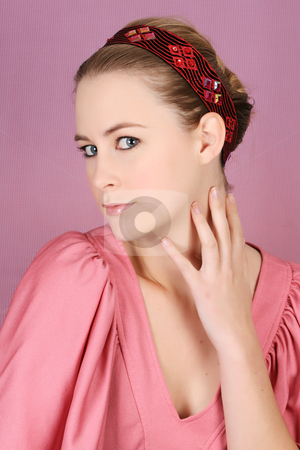 Female Model stock photo, Beautiful blond female model wearing pink dress and hair accessories by Vanessa Van Rensburg