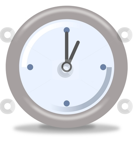 Clock One stock photo, Silver and blue clock on white background showing one by Henrik Lehnerer