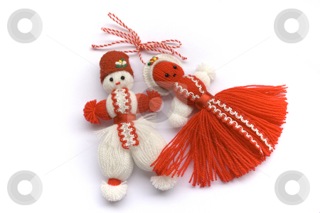 Martenitsa stock photo, Twined tasselled red and white thread, symbol of spring and health by Minka Ruskova-Stefanova