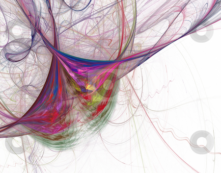 Colorful lines disorder stock photo, Abstract colorful background - lines disorder on white by J?