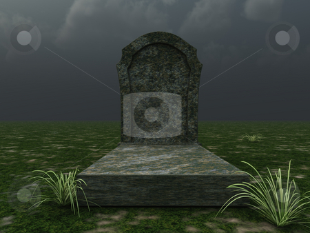 Grave stock photo, Grave in front of cloudy sky - 3d illustration by J?