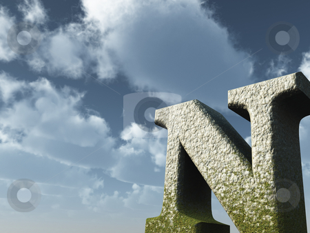 Big N stock photo, Letter N rock in front of blue sky - 3d illustration by J?
