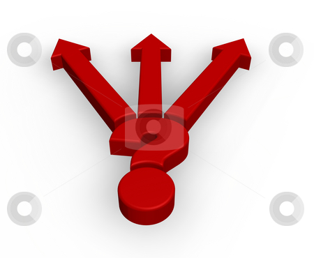 Right way stock photo, Red question mark and pointer on white background - 3d illustration by J?