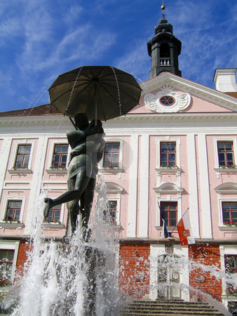 Tartu town hall and kissing students fountain stock photo, Two of the symbols of the Estonian town of Tartu, the town hall building, and the so called